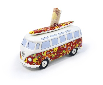 VW T1 BUS MONEY BANK (SCALE 1:18) WITH SURF BOARD IN GIFT BOX - BUBBLE