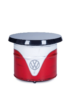 VW T1 BUS TABLE OIL DRUM (208L) IN VINTAGE-LOOK - WHITE/RED
