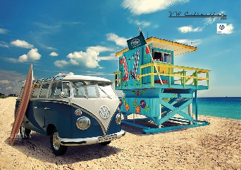 VW T1 BUS PLAKAT DINA2 QUER -BEACHLIFE