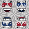VW T1 BUS DESIGN NAPKINS - SAMBA STRIPES/RED AND BLUE