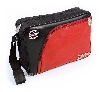 VW T1 BUS MESSENGER BAG WITH TIRE TREAD EDGING - VINTAGE LOGO/RED-BLACK