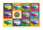 VW T1 BUS BLECHSCHILD 30X20cm - MULTICOLOR