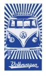 VW T1 BUS BEACH TOWEL - SAMBA STRIPES/BLUE