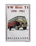 VW T1 BUS RED METAL SIGN - 1950-1967
