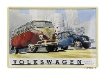 VW T1  BUS AND BEETLE METAL SIGN -  INDUSTRIAL SCENERY