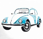 VW BEETLE WALL TATTOO - BLUE