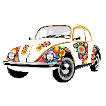 VW BEETLE WALL TATTOO - FLOWER