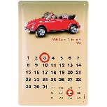 VW BEETLE METAL CALENDAR - CONVERTIBLE 1980
