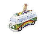 VW T1 BUS MONEY BANK (SCALE 1:18) WITH SURF BOARD IN GIFT BOX - PEACE