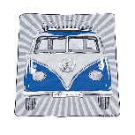 VW T1 BUS PICNIC BLANKET WITH CARRYING BAG - SAMBA STRIPES/BLUE