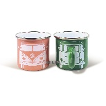 VW T1 BUS ENAMEL MUG 2-PC SET 350ml IN GIFT BOX - GREEN/ROSE PINK