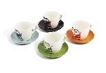 VW T1 BUS ESPRESSO CUP 4-PC SET 100ml IN GIFT BOX - FRONT/4 COLOURS