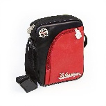 VW T1 BUS MINI SHOULDER BAG WITH TIRE TREAD EDGING -  VINTAGE LOGO/RED-BLACK