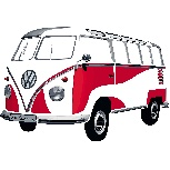 VW T1 BUS WALL TATTOO - CLASSIC RED