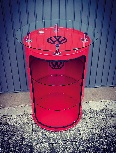 VW GTI HIGH BAR TABLE WITH VITRINE OIL DRUM (208L) - RED