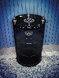 VW GTI HIGH BAR TABLE WITH VITRINE OIL DRUM (208L) - BLACK