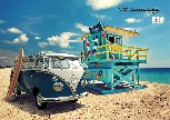 VW T1 BUS POSTER PORTRAIT FORM - BEACH