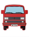 VW T3 BUS RUBBER MAGNET - FRONT/RED
