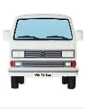 VW T3 BUS RUBBER MAGNET - FRONT/WEISS